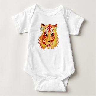 Tiger Drawing Baby Jersey Bodysuit, White Baby Bodysuit