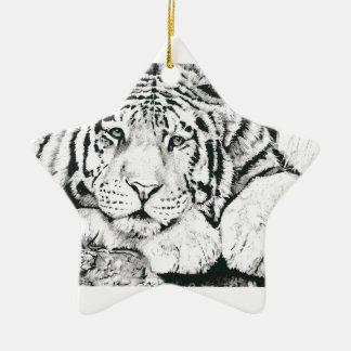 Tiger drawing ceramic star decoration