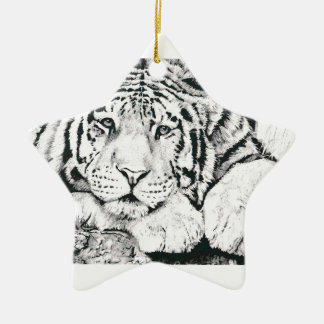 Tiger drawing christmas ornament