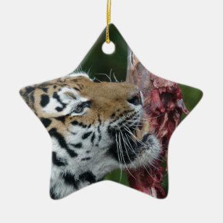 Tiger eating ceramic star decoration