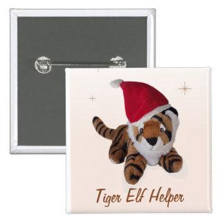 Tiger Elf Helper In Santa Hat  Badge Name Tag