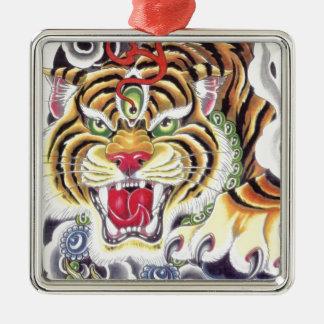 Tiger Eye Silver-Colored Square Decoration