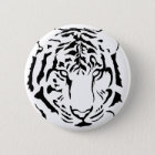 tiger eyes and stripes silhouette button