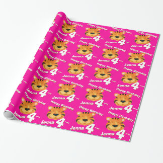 Tiger face art and name 4th birthday wrap wrapping paper