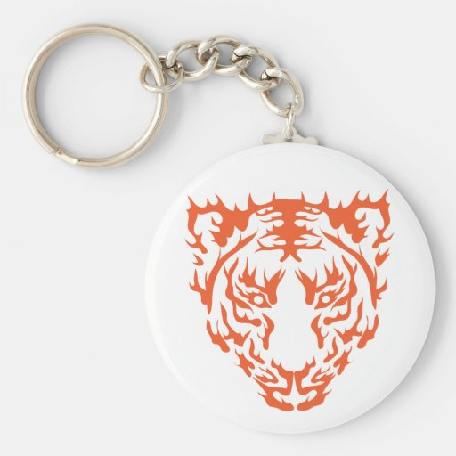 Tiger Face Basic Round Button Key Ring