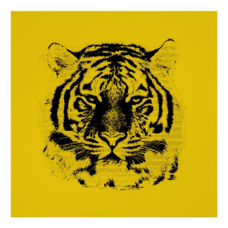 Tiger Face Close Up (Black and Yellow) Poster