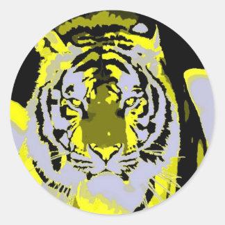 Tiger Face Pop Art Classic Round Sticker