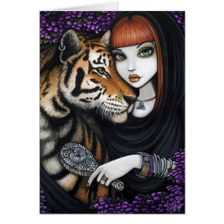 Tiger Fae Soul Mates Fantasy Flower Sam Lilah Greeting Card