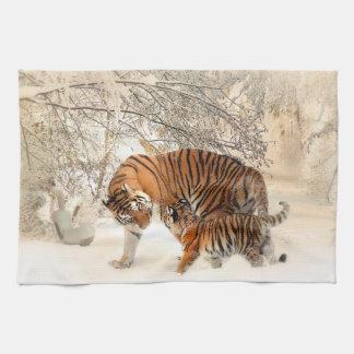 Tiger family in winter tea towel