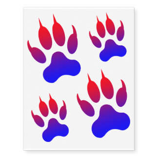 Tiger Foot Red/Blue Temporary Tattoos