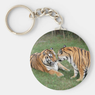 Tiger Friends-008 Basic Round Button Key Ring