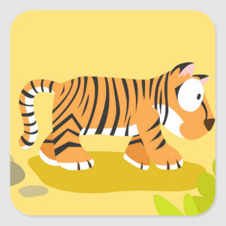 Tiger from my world animals serie square sticker