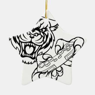 Tiger Gamer Mascot Christmas Ornament