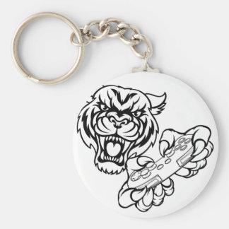Tiger Gamer Mascot Key Ring