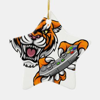 Tiger Gamer Player Mascot Christmas Ornament