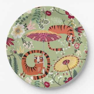 Tiger Garden party 9 Inch Paper Plate