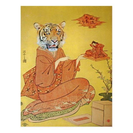 Tiger Geisha With Miniature Samurai Postcard