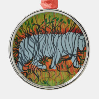 Tiger ghost Silver-Colored round decoration