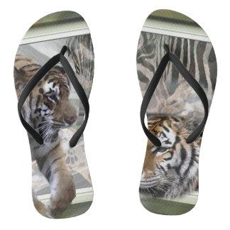 Tiger Giraffe Zebra Lovers Flip Flops