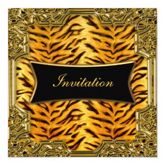 """Tiger Gold Black Birthday Party Invitation 5.25"""" Square Invitation Card"""