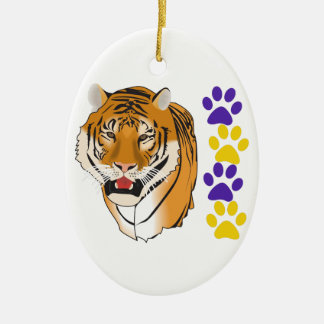 TIGER HEAD AND PAW PRINTS CERAMIC OVAL DECORATION