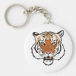 Tiger head basic round button key ring