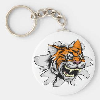 Tiger Head Bursting Through Wall Basic Round Button Key Ring
