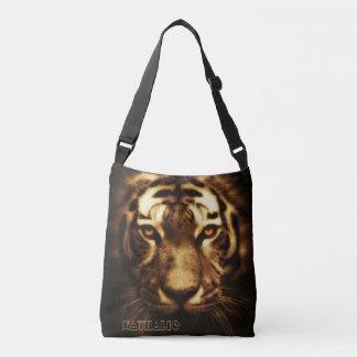 Tiger head cross body tote