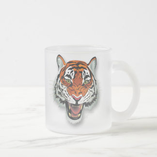 Tiger Head Frosted Glass Mug