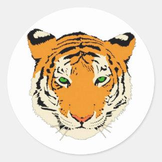 Tiger Head Round Stickers