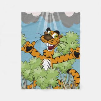 Tiger Hiding in the Bushes Fleece Blanket