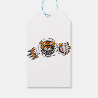 Tiger Holding Baseball Ball Breaking Background Gift Tags