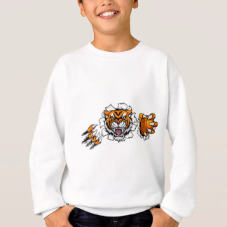 Tiger Holding Basketball Ball Breaking Background Sweatshirt
