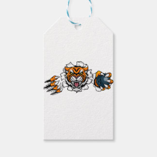 Tiger Holding Bowling Ball Breaking Background Gift Tags