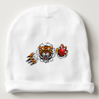 Tiger Holding Cricket Ball Breaking Background Baby Beanie