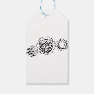 Tiger Holding Cricket Ball Breaking Background Gift Tags
