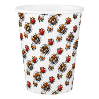 Tiger Holding Cricket Ball Breaking Background Paper Cup