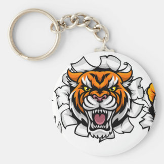 Tiger Holding Soccer Ball Breaking Background Key Ring