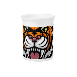 Tiger Holding Soccer Ball Breaking Background Pitcher
