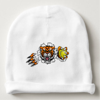 Tiger Holding Tennis Ball Breaking Background Baby Beanie