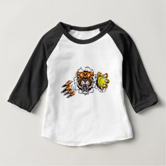 Tiger Holding Tennis Ball Breaking Background Baby T-Shirt