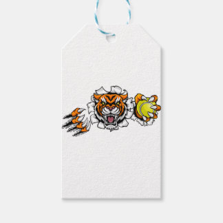 Tiger Holding Tennis Ball Breaking Background Gift Tags