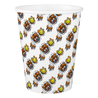 Tiger Holding Tennis Ball Breaking Background Paper Cup