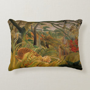 Tiger in a Tropical Storm by Henri Rousseau Decorative Cushion