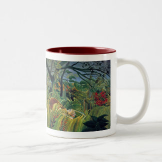 Tiger in a Tropical Storm (Surprised) Two-Tone Coffee Mug