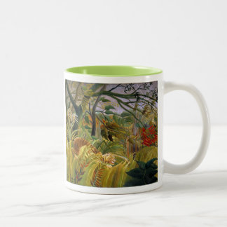 """""""Tiger in a Tropical Storm"""" Two-Tone Mug"""