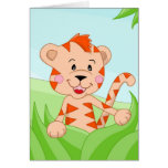 Tiger in grass greeting card