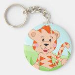 Tiger in grass keychains
