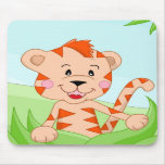 Tiger in grass mousepad