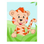Tiger in grass postcard